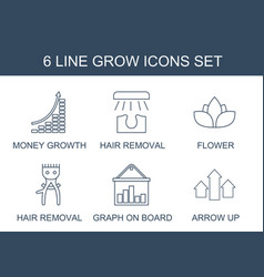 6 grow icons vector