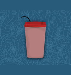 A cup on art pattern vector
