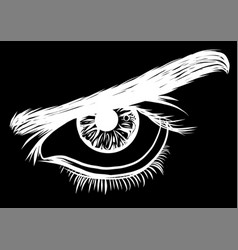 a of a eye men on black background vector image