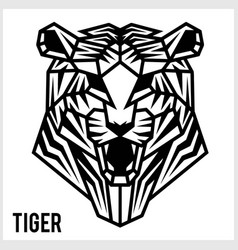 abstract linear polygonal head a tiger vector image