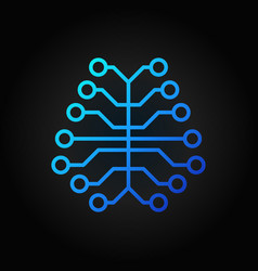 ai digital brain concept blue icon or logo element vector image