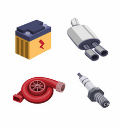 Automotive component part collection iconset vector