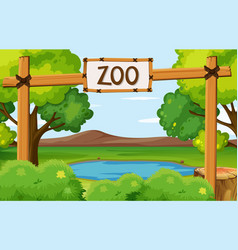 Background scene zoo park with pond in the vector