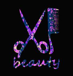 Beauty salon scissors and comb design vector