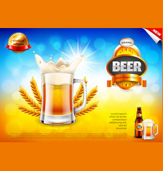 beer ads frothy mug and wheats on field bokeh vector image