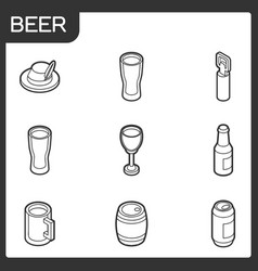 beer outline isometric icons vector image