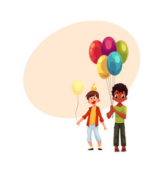 Black and caucasian little boys with balloons vector