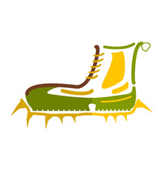 Boots with crampons isolated on white background vector