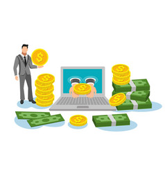 business man and laptop with dollar for make vector image