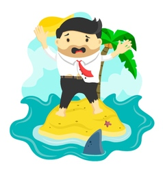 Businessman stranded in island vector