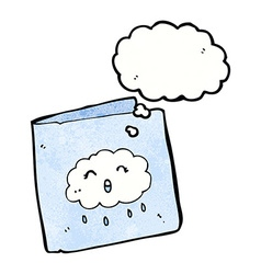 Cartoon card with cloud pattern with thought vector
