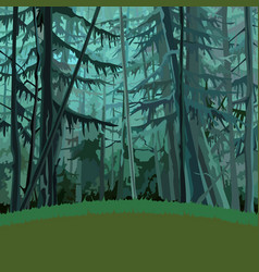 Cartoon fabulous dense coniferous forest vector