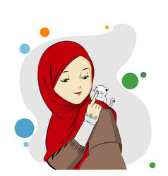 Cat and muslimah vector