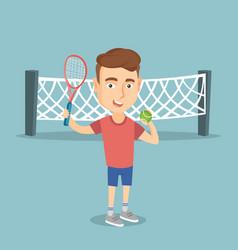 Caucasian tennis player vector