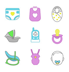 Childcare color icons set vector