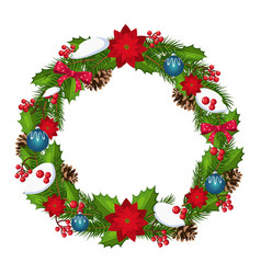 Christmas wreath with berries and decorations vector