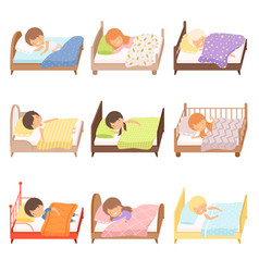 Collection cute little boys and girls sleeping vector