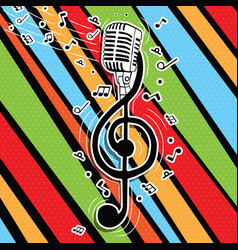 colorful music key with singer microphone vector image