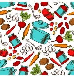 Cooking seamless pattern with ingredients vector