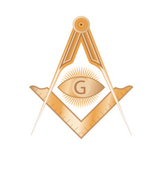 copper masonic square and compass symbol vector image