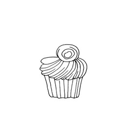 cupcake dessert with creamy top vector image