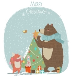 Cute bear hare and fox - Christmas card vector