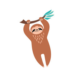 Cute cartoon sloth hanging on a branch vector