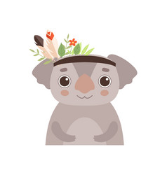 cute coala bear animal wearing headdress with vector image