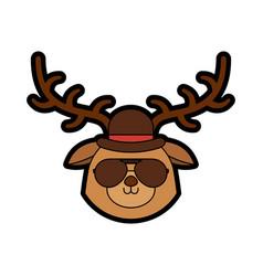 cute vintage deer face cartoon vector image