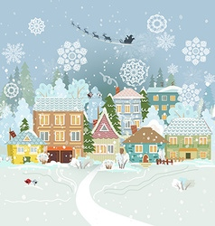 Cute winter cityscape Merry Christmas vector image