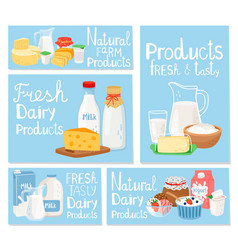 dairy product cheese and milk set cards vector image