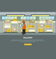 delivery conceptual web banner in flat vector image