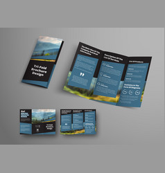 Design black triple folding brochure with vector