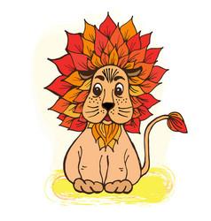doodle cute lion with a mane color orange vector image
