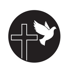 dove flying with a symbol religion cross dove vector image