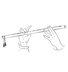 drawing hands playing on flute lord krishna vector image