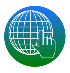 earth globe with cursor white icon in vector image