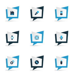 electronics icons colored set with technology vector image