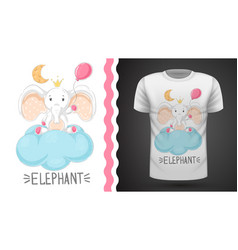 elephant with air balloon - idea for print t-shirt vector image
