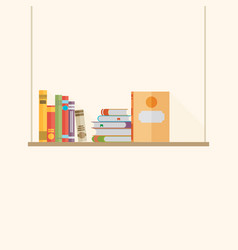 Flat bookshelf with long shadow icon modern vector
