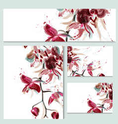 floral templates or invitation with orchid flowers vector image