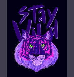 fluorescent head tiger with shiny green eyes vector image