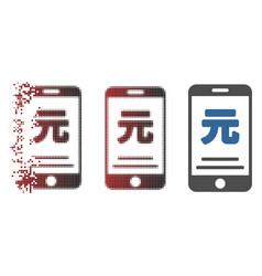 Fragmented pixel halftone yuan mobile payment icon vector
