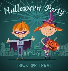 halloween flat with children trick or treating vector image