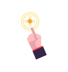hand in a flat style holds a bitcoin vector image