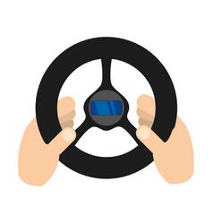 Hand with steering wheel vector