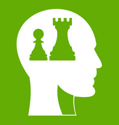 Head with queen and pawn chess icon green vector
