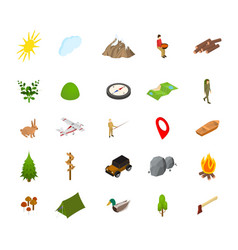 hiking in a park concept icon set 3d isometric vector image