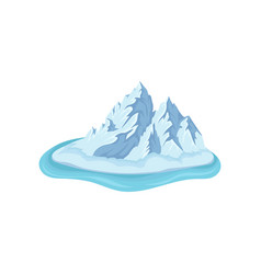 ice island with big frozen mountain surrounded by vector image