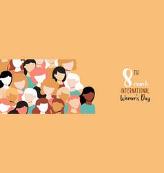 International womens day banner diverse girl team vector